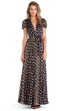 Diane von Furstenberg Wrap Gown in Black & Gold