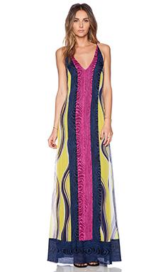 Diane von Furstenberg McKinley Maxi Dress in Marble Stripe Chartreuse