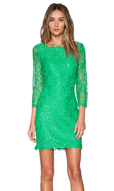 Diane von Furstenberg Zarita Mini Dress in Spring Green