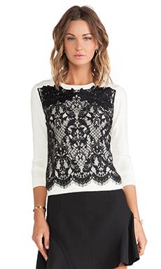 Diane von Furstenberg Lace Pullover Sweater in Ivory