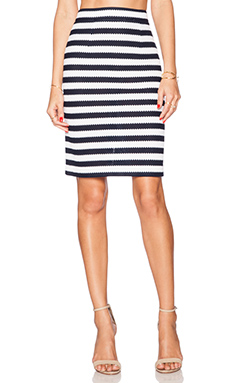 Diane von Furstenberg Walda Skirt in White & Navy