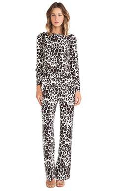 Diane von Furstenberg Cynthia Jumpsuit in Snow Cheetah Large