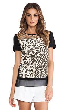 Diane von Furstenberg Becky Printed Blouse in Feather Leopard