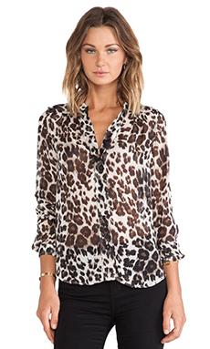 Diane von Furstenberg Harlow Blouse en Snow Cheetah Large