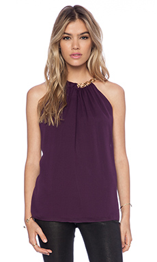 Diane von Furstenberg Chain Neck Halter Top in Purple Jewel