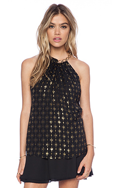 Diane von Furstenberg Chain Neck Halter Top in Black & Gold