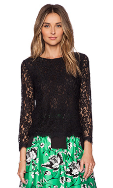 Diane von Furstenberg Brielle Lace Top in Black
