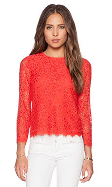 Diane von Furstenberg Brielle Lace Top in Hot Coral
