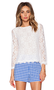 Diane von Furstenberg Brielle Lace Top in White