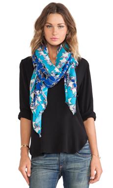 Diane von Furstenberg Lurex Wool Scarf in Twinkle Scarf Blue
