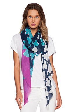 Diane von Furstenberg Floral Shadow Degrade Scarf in Midnight