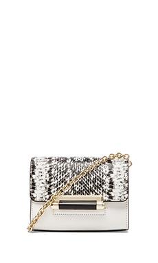 Diane von Furstenberg Highline Micro Mini Crossbody in White & Black Snake
