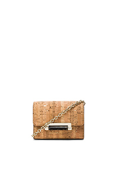 Diane von Furstenberg Micro Mini Metallic Cork Crossbody in Natural