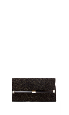Diane von Furstenberg Envelope Clutch in Black & Gold