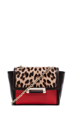 Diane von Furstenberg Mini Shoulder Bag in Leopard & Paprika