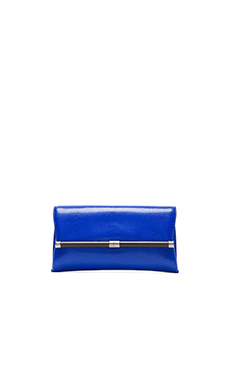 Diane von Furstenberg Embossed Lizard Envelope Clutch in Cobalt