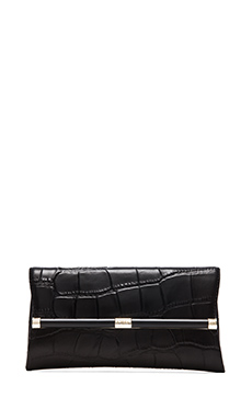 Diane von Furstenberg Embossed Croc Envelope Clutch in Black