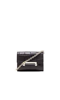 Diane von Furstenberg Embossed Croc Mini Crossbody in Black