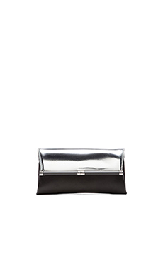 Diane von Furstenberg Metallic Envelope Clutch in Silver & Black