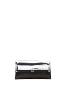 Diane von Furstenberg Metallic Envelope Clutch in Silver & Black