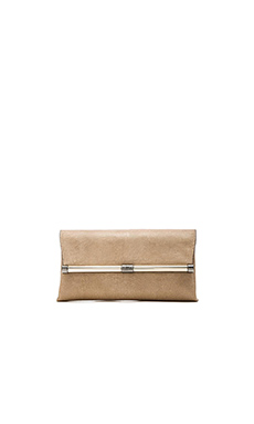 Diane von Furstenberg Envelope Embossed Lizard Clutch in Sand & Gold