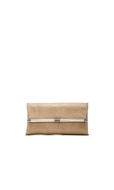 Diane von Furstenberg Envelope Embossed Lizard Clutch in Sand & Gold
