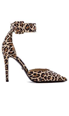 Diane von Furstenberg Buckie Heel in Natural Leopard Print Suede