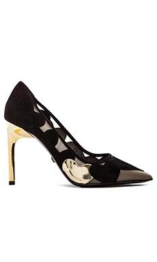 Diane von Furstenberg Bis Heel in Black Suede & Mushroom