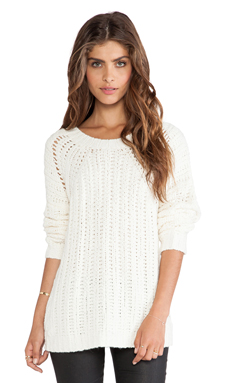 Elizabeth and James Textured Boxy Pullover in Cream