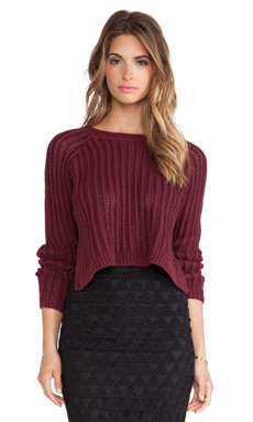 Elizabeth and James High Slit Pullover in Burgundy