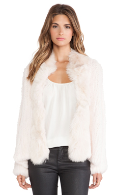 Elizabeth and James Bianca Rabbit and Coyote Fur Jacket in Boudoir Pink