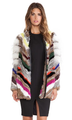 Elizabeth and James Tarra Rabbit and Coyote Fur Jacket in Multi