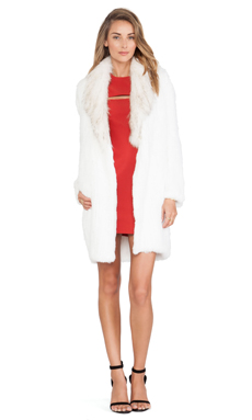 Elizabeth and James Holland Fur Coat in Ivory