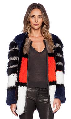 Elizabeth and James Tarra Coat with Rabbit & Coyote Fur in Black Multi