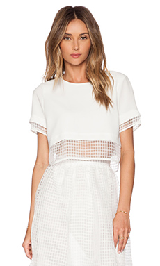 Elizabeth and James Textured Voula Top in Ivory & Ivory