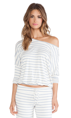 eberjey Lounge Stripe Slouchy Tee in Blue Shadow