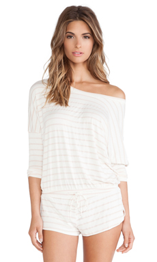 eberjey Lounge Stripe Slouchy Tee in Shell