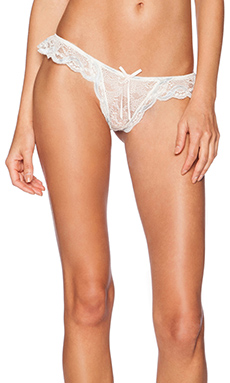eberjey Something Blue Ruffle Thong in Ivory & Something Blue
