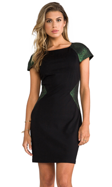 ERIN erin fetherston Elaine Dress in Black/Evergreen