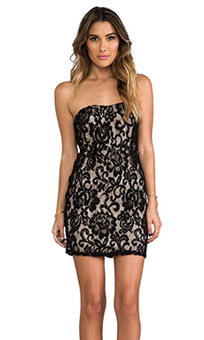Eight Sixty Lace Strapless Dress in Black & Champagne