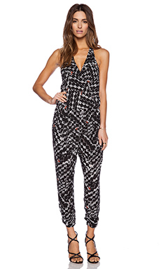 Eight Sixty Jagger Jumpsuit in Black, White & Red
