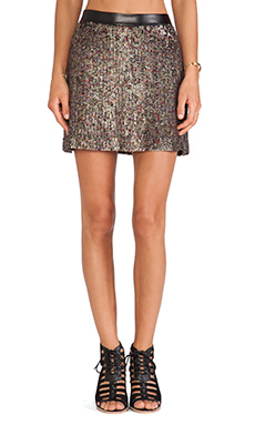 Erin Kleinberg Dee Skirt in Gold Sequin & Black Leather