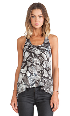 Erin Kleinberg Gemma Tank in Grey Snake & Black Lace