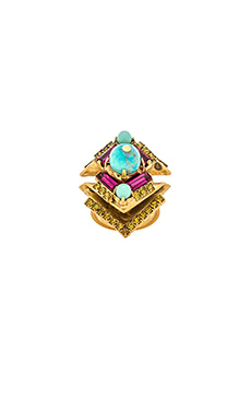 Elizabeth Cole Sarine Ring in Fuchsia & Lime