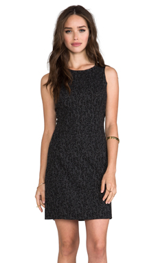 Ella Moss Frankie Dress with Leather Details in Charcoal Animal