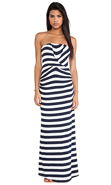 Ella Moss Isla Striped Strapless Maxi Dress in White