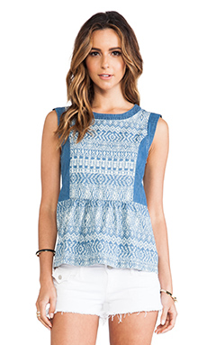 Ella Moss Paz Chambray Tank in Medium Wash