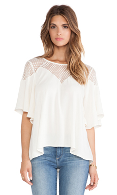 Ella Moss Nikita Lace Yoke Top in Cream