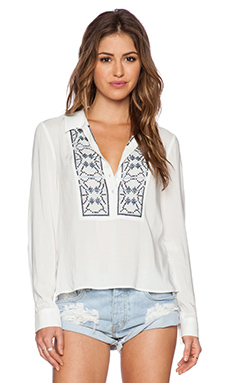 Ella Moss Lola Top in White & Ink