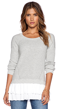 Ella Moss Rita Top in Heather Grey & Natural